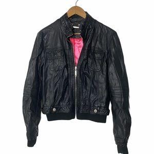 JOUJOU Black Faux Leather Pink Lined Jacket